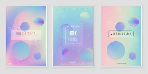Streszczenie niewyraźne holograficzne tło gradientowe zestaw nowoczesny minimalistyczny design. wektor folii holograficznej