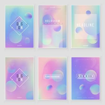 Streszczenie niewyraźne zestaw holograficzne tło gradientowe nowoczesny design. opalizująca okładka do kreatywnego projektu
