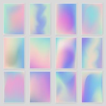Streszczenie niewyraźne zestaw holograficzne tło gradientowe nowoczesny design.