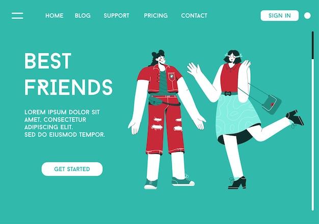 Streszczenie nowoczesna czcionka alfabetu w górnej części strony docelowej koncepcji najlepszych przyjaciół
