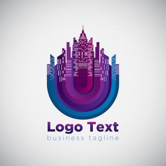 Streszczenie nowoczesna koncepcja logo budynku