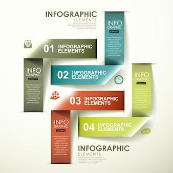 Streszczenie nowoczesne błyszczące etykiety składane elementy infografiki