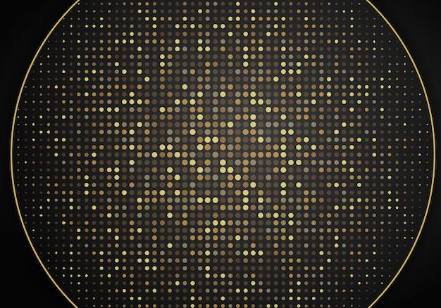 Streszczenie nowoczesne ciemne tło z nakładającymi się warstwami. realistyczna tekstura z elementem złotych kropek, błyszczące koło efekt świetlny błyszczy. szablon projektu technologii.