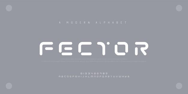 Streszczenie nowoczesne czcionki alfabetu miejskiego. typografia sportowa, technologia