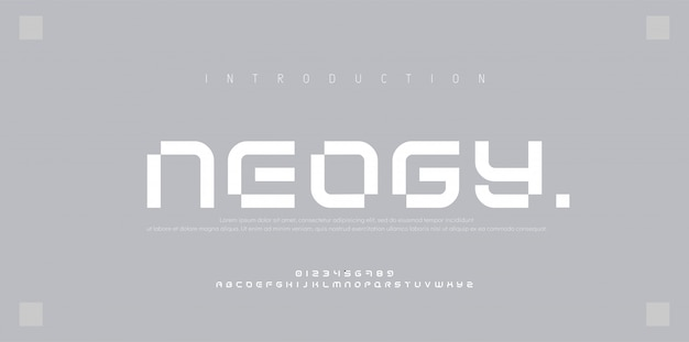 Streszczenie nowoczesne czcionki miejskiego alfabetu. typografia sport, prosta, technologia, moda, cyfrowa, kreatywna czcionka przyszłości
