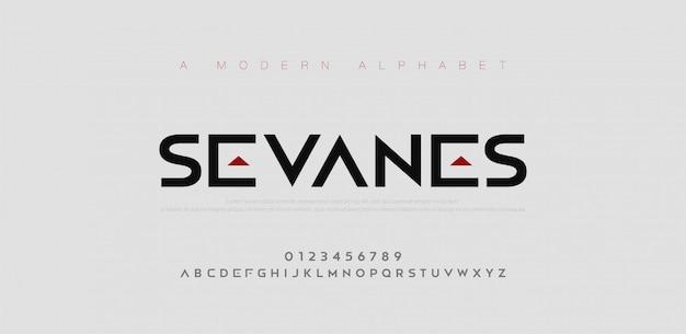 Streszczenie nowoczesne czcionki miejskiego alfabetu. typografia sport, prosta, technologia, moda, cyfrowa, przyszłościowa kreatywna czcionka z logo.