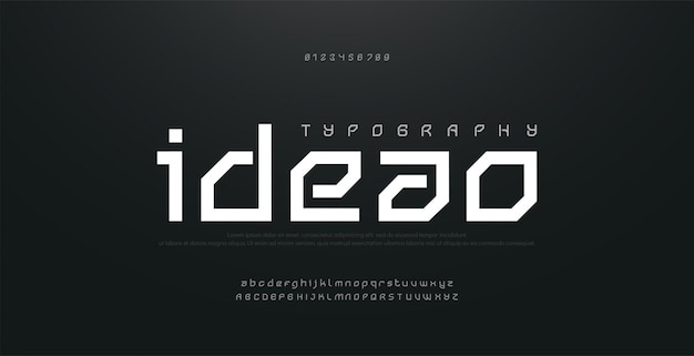 Streszczenie nowoczesne czcionki miejskiego alfabetu. typografia sport, technologia, moda, cyfrowe, przyszłe kreatywne logo kwadratowe czcionki. ilustracja
