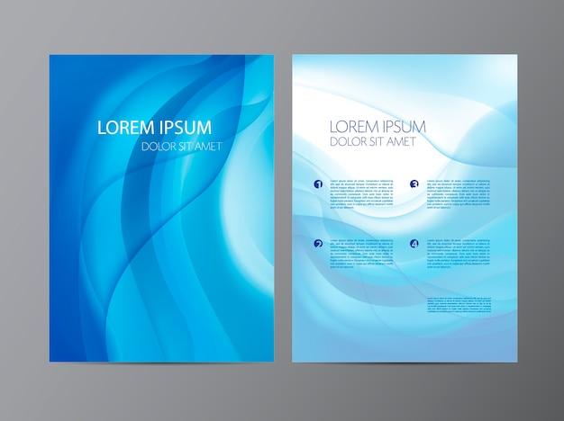Streszczenie nowoczesne faliste niebieskie ulotki płynące, broszura