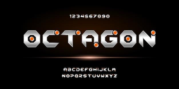 Streszczenie nowoczesne futurystyczne czcionki alfabetu. czcionka w stylu miejskim typografii