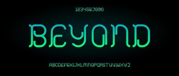 Streszczenie nowoczesne futurystyczne czcionki alfabetu. typografia czcionki w stylu miejskim dla technologii, cyfrowych, projektowania logo filmu