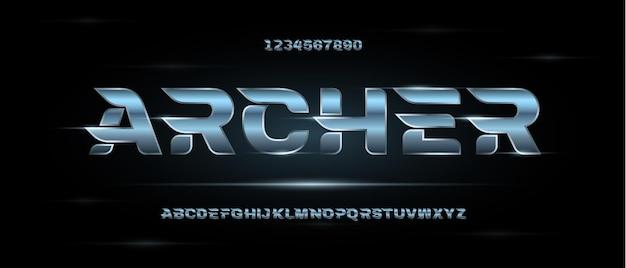 Streszczenie nowoczesne futurystyczne czcionki alfabetu.