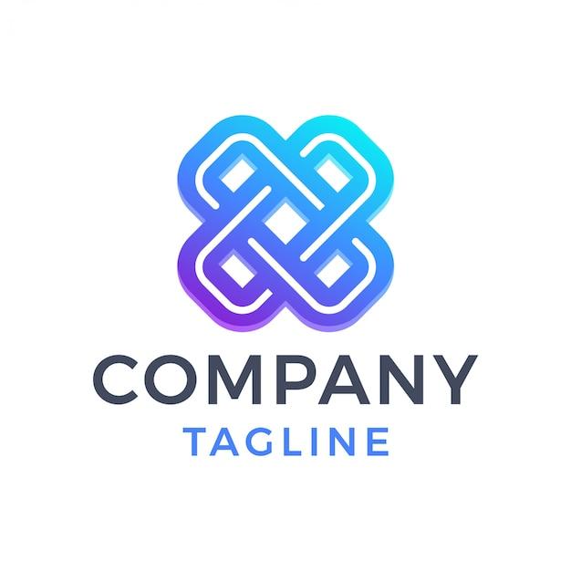 Streszczenie nowoczesne krzyż litery x logo gradientu monoline
