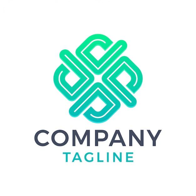 Streszczenie nowoczesne kwadratowe litery x zielone logo gradientu w linii