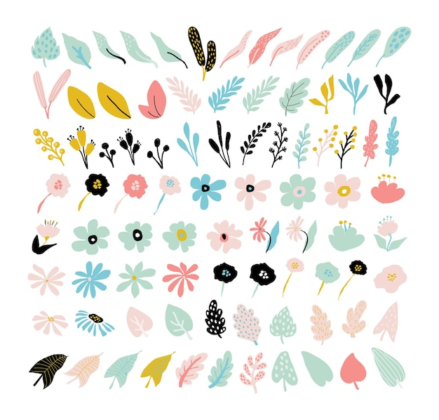 Streszczenie nowoczesne kwiaty zestaw. proste kwiatowe kształty kwiatowe, geometryczne elementy kolażu. współczesna kolekcja kwiatów i liści. organiczne kształty graficzne na białym tle.ilustracja wektorowa