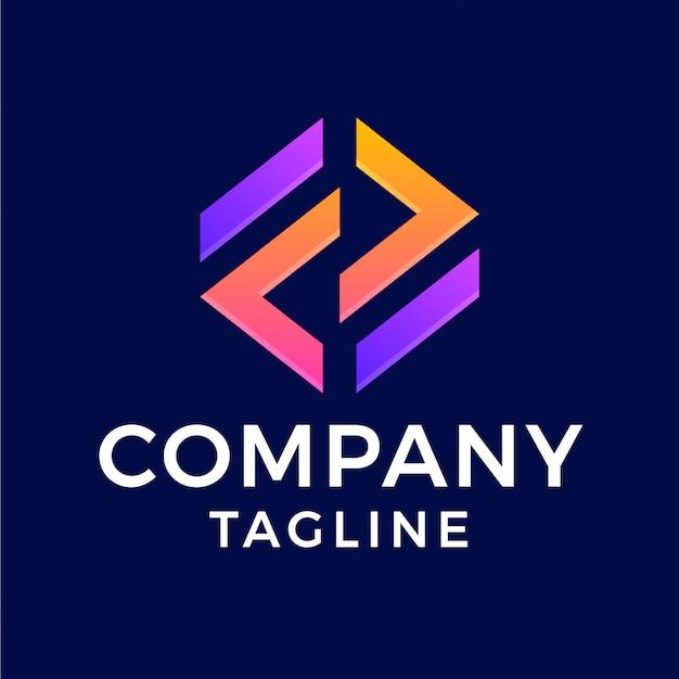 Streszczenie nowoczesne litery f sześciokątne logo gradientu