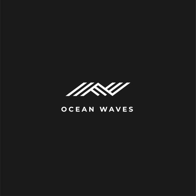 Streszczenie nowoczesne logo fali z negatywną przestrzenią