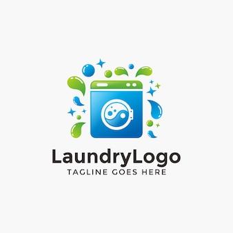 Streszczenie nowoczesne logo pralni szablon projektu