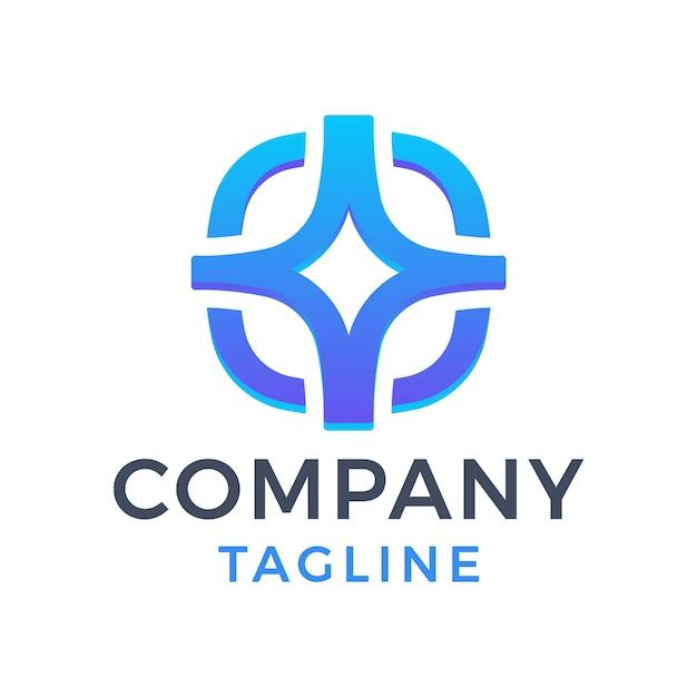 Streszczenie nowoczesne logo zaokrąglone niebieskie 3d gradientowe logo