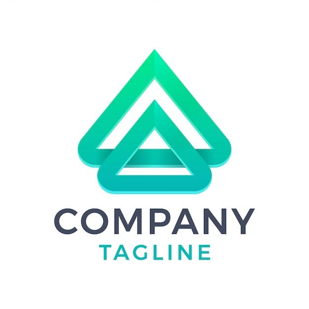 Streszczenie nowoczesne monoline list 3d logo gradientu