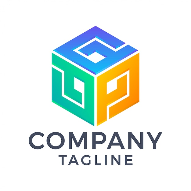 Streszczenie nowoczesne sześciokątne pudełko 3d z początkowym monogramem litera gpj kolorowe logo