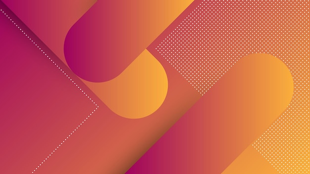 Streszczenie nowoczesne tło z elementem memphis i fioletowo-pomarańczowy kolor gradientu