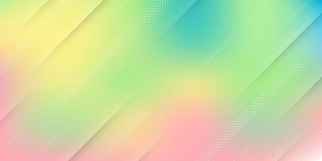 Streszczenie nowoczesne tło z niebieskim, zielonym, żółtym pastelowym gradientem, efekt rozmycia i nowoczesne elementy.