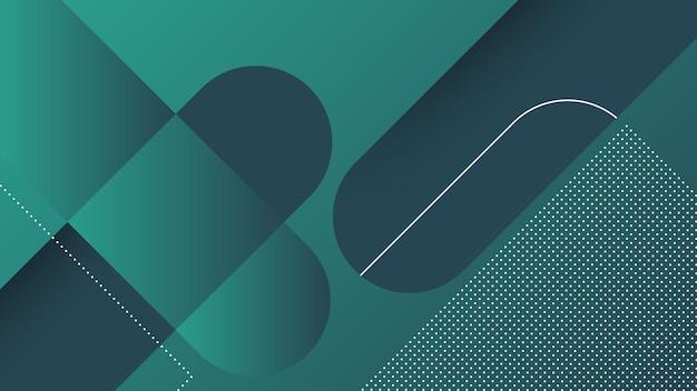 Streszczenie nowoczesne tło z ukośnymi liniami i elementem memphis i ciemnozielonym żywym kolorem gradientu