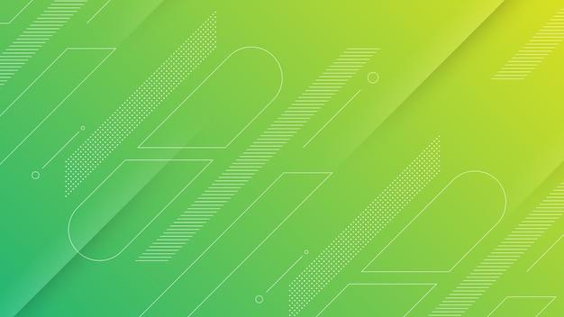 Streszczenie nowoczesne tło z żywym żółtym zielonym gradientem kolorów i elementem memphis