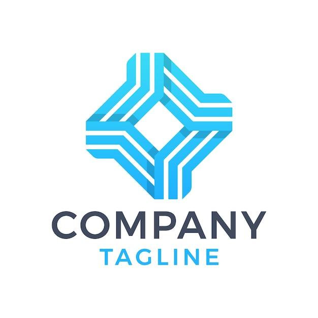 Streszczenie nowoczesny kwadratowy diament monoline 3d niebieski projekt logo