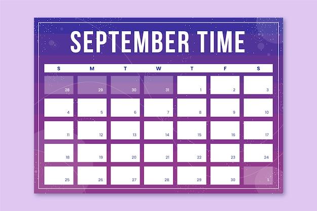 Streszczenie nowoczesny miesięczny kalendarz galaktyk