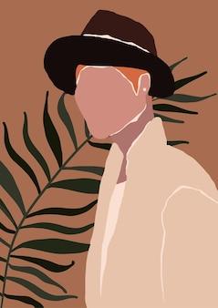 Streszczenie nowoczesny młody człowiek w kapeluszu