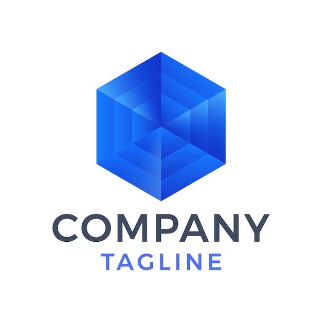Streszczenie nowoczesny projekt logo 3d sześcian niebieskie szkło kwadratowe pudełko