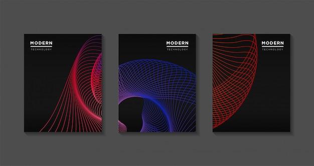 Streszczenie nowoczesny szablon obejmuje. futurystyczne gradienty linii sztuki