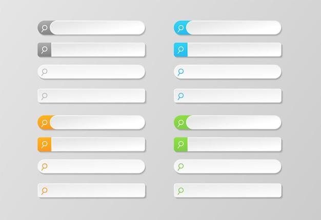 Streszczenie nowoczesny szablon paska wyszukiwania. element interfejsu użytkownika pól wyszukiwania z cieniem