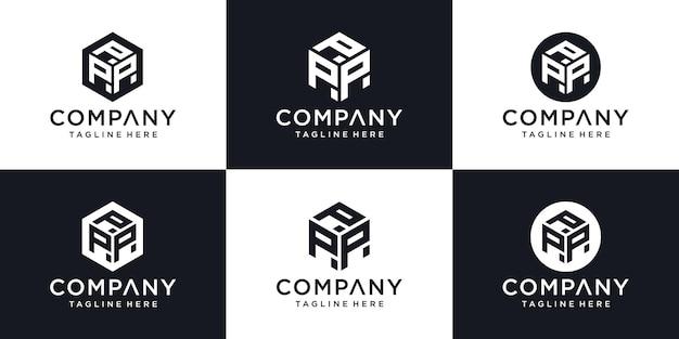 Streszczenie nowoczesny szablon projektu logo początkowej litery p znak