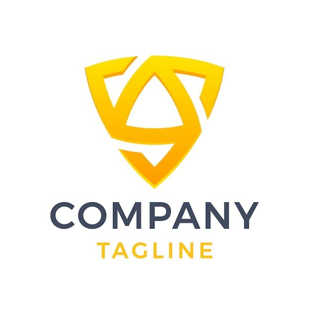 Streszczenie nowoczesny trójkąt tarcza list sg geometryczny żółty gradient logo projekt