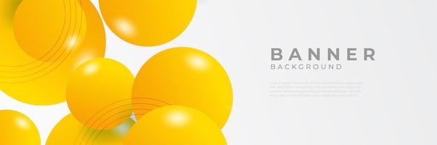 Streszczenie nowoczesny żółty poziomy szablon projektu banera internetowego