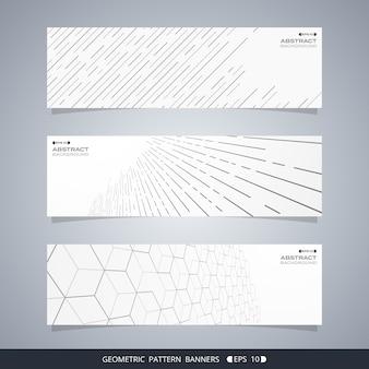 Streszczenie nowoczesnych banerów geometrycznej linii.
