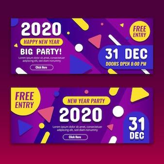 Streszczenie nowy rok 2020 banery partii