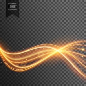 Streszczenie obiektyw pochodni złote przejrzystego światła efekt z linii falistych i sparkleing cząstek pyłu