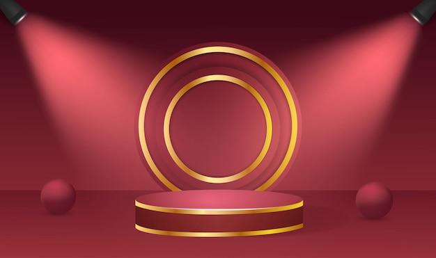 Streszczenie okrągłe podium oświetlone reflektorami. koncepcja ceremonii wręczenia nagród w tle sceny