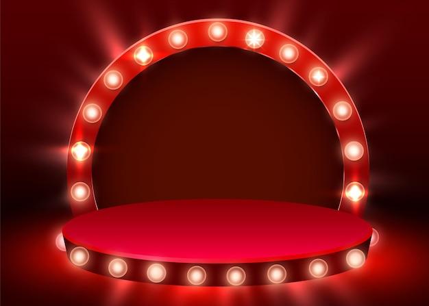 Streszczenie okrągłe podium oświetlone reflektorami