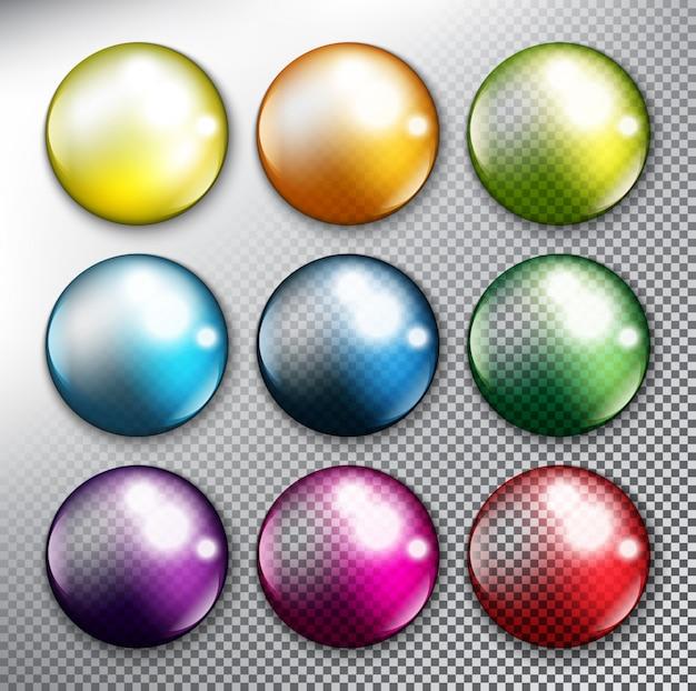 Streszczenie okrągłe przyciski internetowych zestaw 9. kolorowe krople. odosobniony