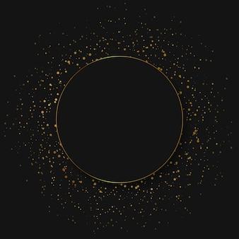 Streszczenie okrągłe świecące światła i złoto błyszczy na przezroczystym tle. wektor