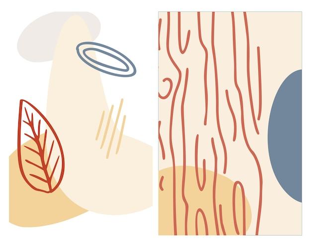 Streszczenie organiczny kształt i ręcznie narysować tło linii w pastelowych kolorach. nowoczesny kolaż na plakaty, historie w mediach społecznościowych. ilustracja wektorowa w modnym stylu streszczenie projektu z miejscem na tekst.