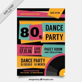 Streszczenie osiemdziesiąte party flyer w stylu retro