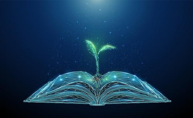 Streszczenie otwarta książka z rosnącą młodą rośliną