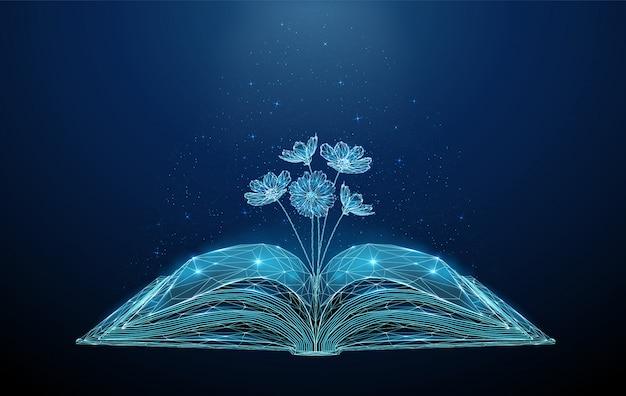 Streszczenie otwarta książka z rosnącymi kwitnącymi kwiatami.