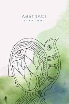 Streszczenie ozdobnych ptaków ludowych linii sztuki na tle akwareli