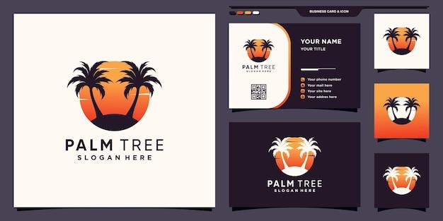 Streszczenie palmy i logo słońca z kreatywną koncepcją i projektowaniem wizytówek